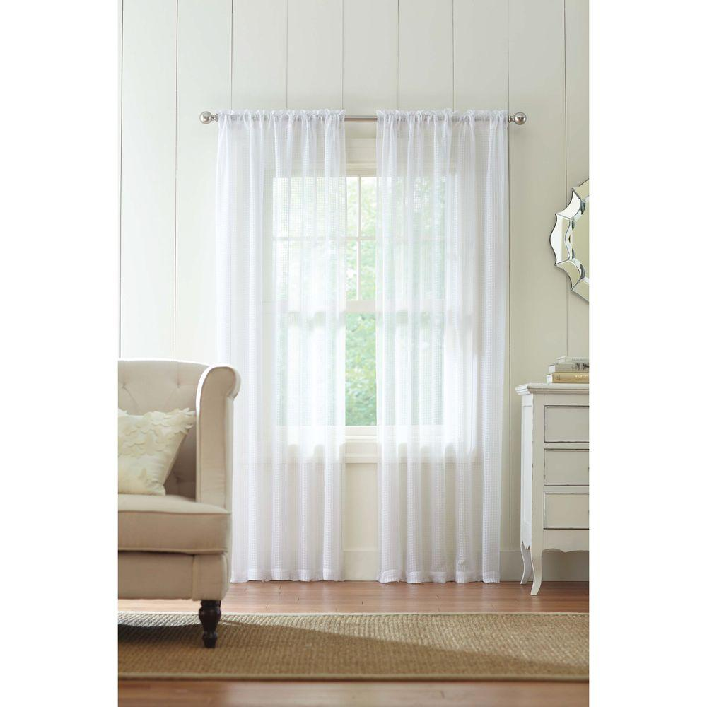 Home Decorators Collection Sheer White Highline Textured Rod Pocket Curtain 52 In W