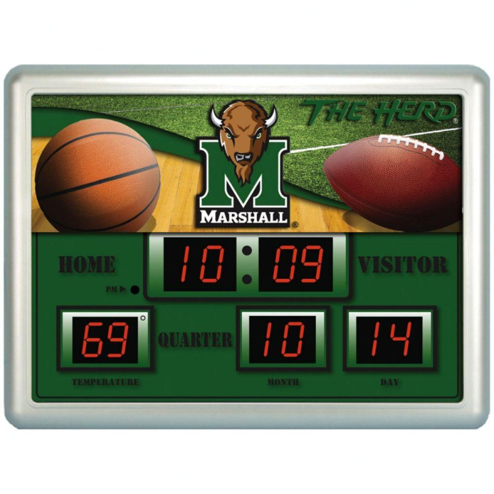 null Marshall University 14 in. x 19 in. Scoreboard Clock with Temperature