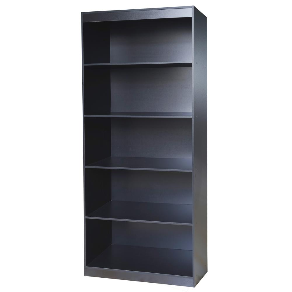 Techni Home Black Sturdy Standard 5 Shelf Bookcase