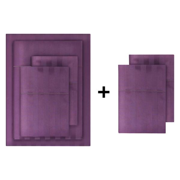 500 Thread Count Egyptian Cotton Sateen 6-Piece California King Sheet Set in Orchid Damask