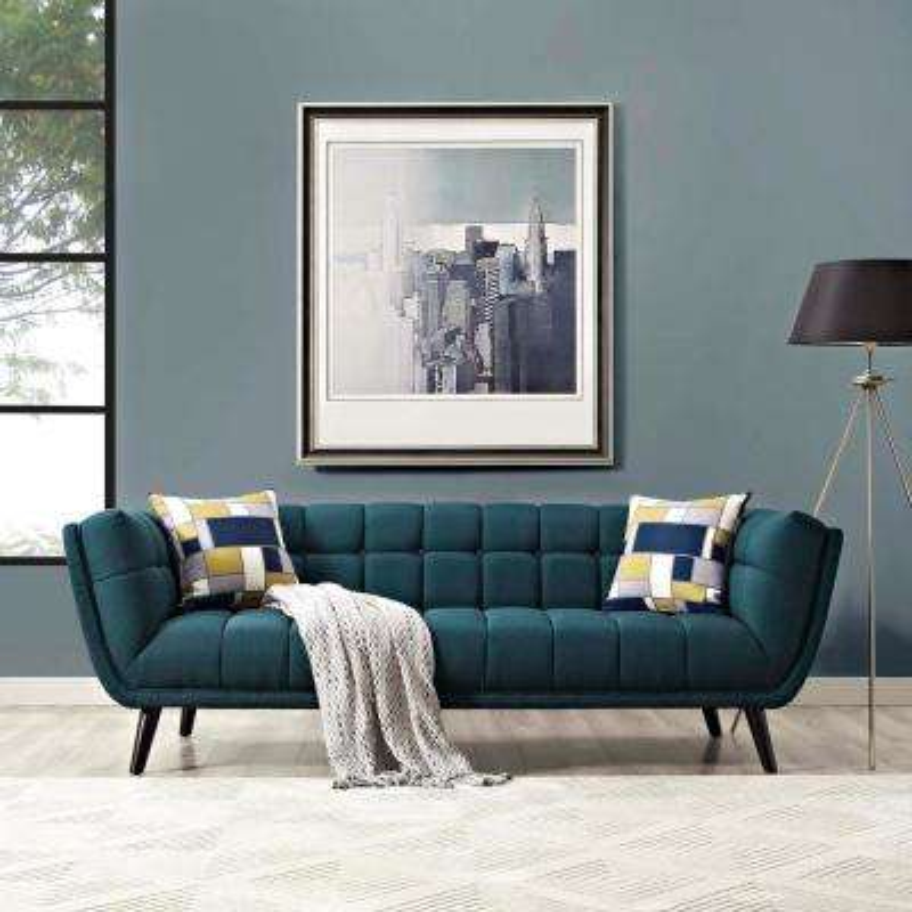 Bestow Blue Upholstered Fabric Sofa