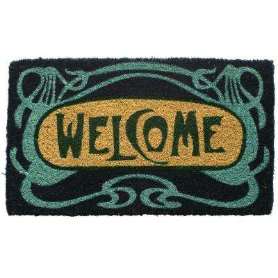 Art Deco Welcome 18 in. x 30 in. Hand Woven Coconut Fiber Door Mat