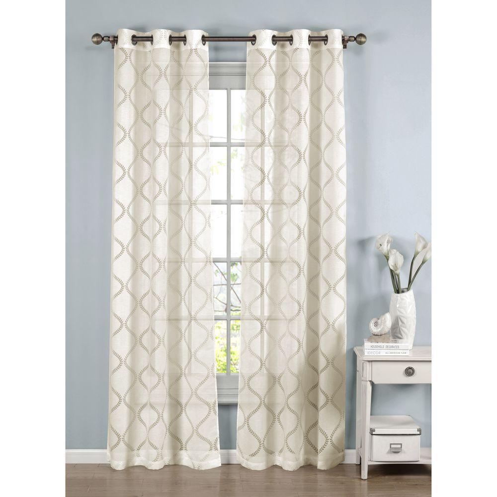 Sheer Lisse Cotton Blend Burnout Sheer Grommet Curtain Panel