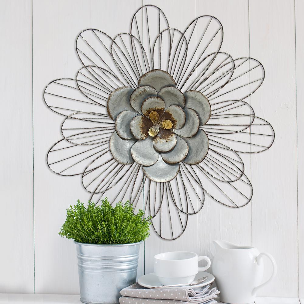 stratton home decor galvanized metal daisy wall decor. Black Bedroom Furniture Sets. Home Design Ideas