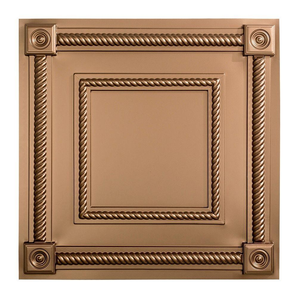 Fasade Coffer - 2 ft. x 2 ft. Lay-in Ceiling Tile in Argent Bronze