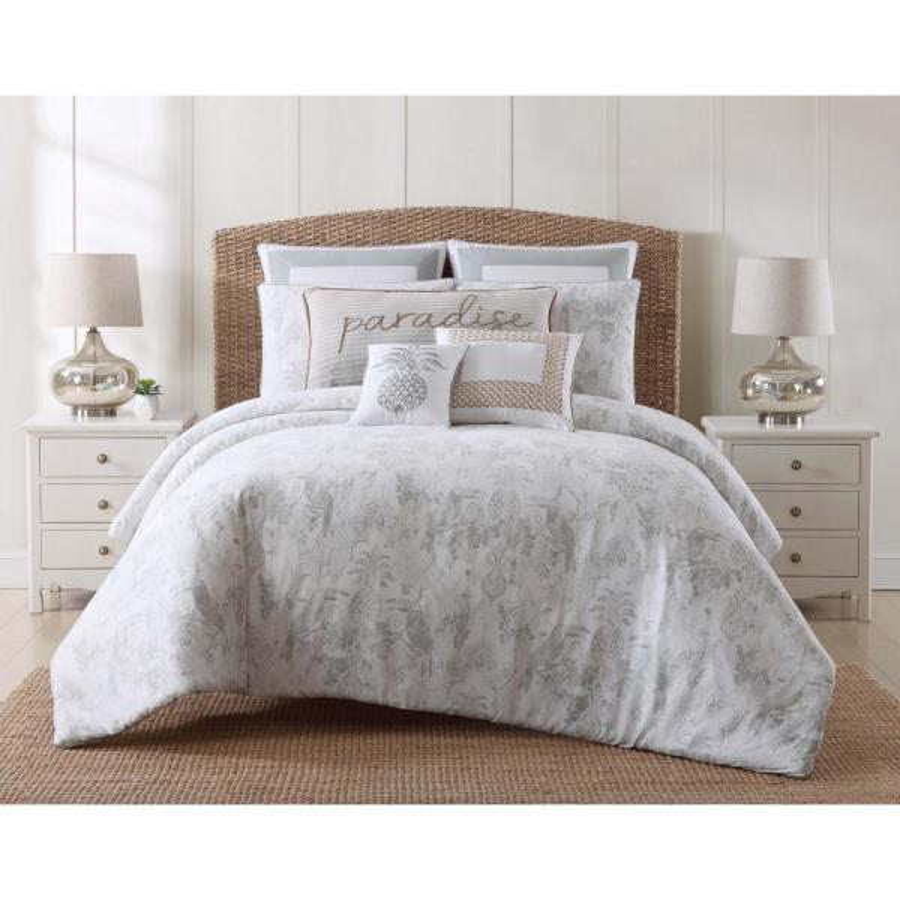 Tropical Plantation 3-Piece Grey King Comforter Set