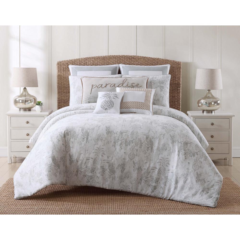 Tropical Plantation 2-Piece Gray Twin XL Comforter Set