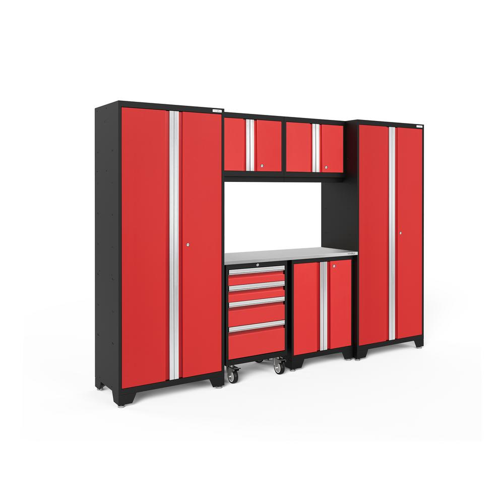 NewAge Products Bold 3.0 77.25 in. H x 108 in. W x 18 in. D 24-Gauge Welded Steel Garage Cabinet Set in Red (7-Piece)