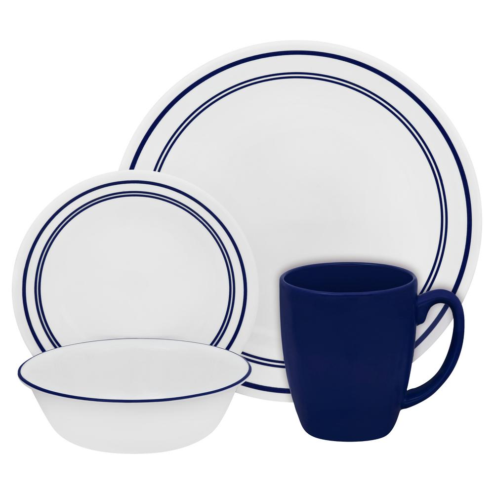Livingware 16-Piece Dinnerware Set in Cafe Blue  sc 1 st  The Home Depot & Corelle Bandhani 16-Piece Vitrelle Dinnerware Set-1103061 - The Home ...