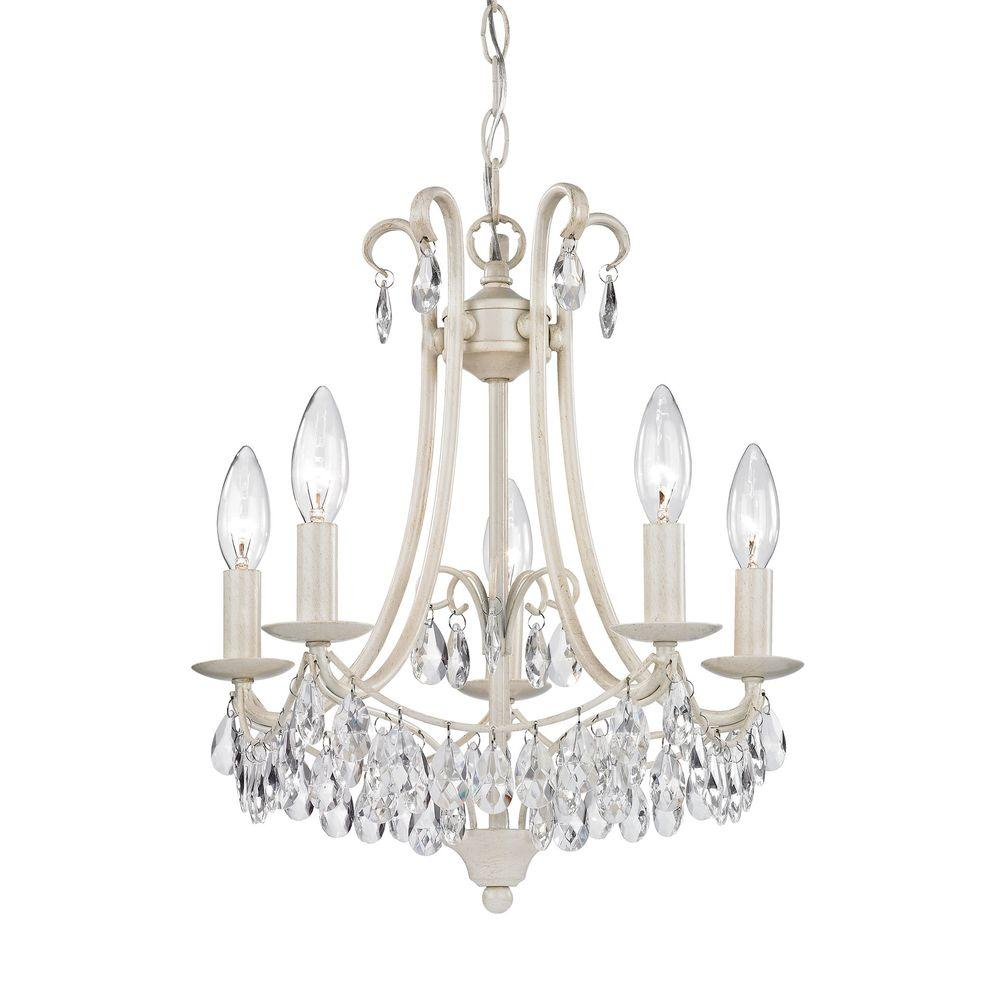 Titan Lighting 5-Light Antique Cream and Clear Mini Chandelier - Titan Lighting 5-Light Antique Cream And Clear Mini Chandelier-TN
