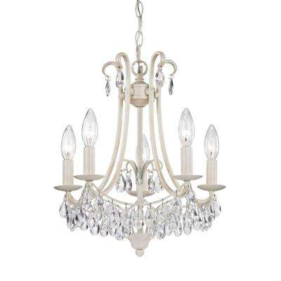 5-Light Antique Cream and Clear Mini Chandelier - White - Mini - Chandeliers - Lighting - The Home Depot