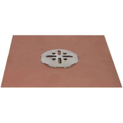 2 in. No-Hub Copper Deck Drain with Stainless Steel Snap In Cover