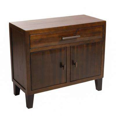 Mahogany Brown 2-Door Cabinet with Drawer