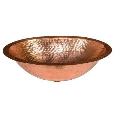 Under Counter Oval Hammered Copper 17 in. Bathroom Sink in Polished Copper