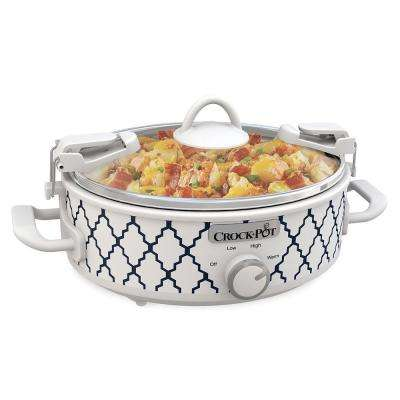 2.5 Qt. Casserole Crock Oval Slow Cooker White/Blue Pattern