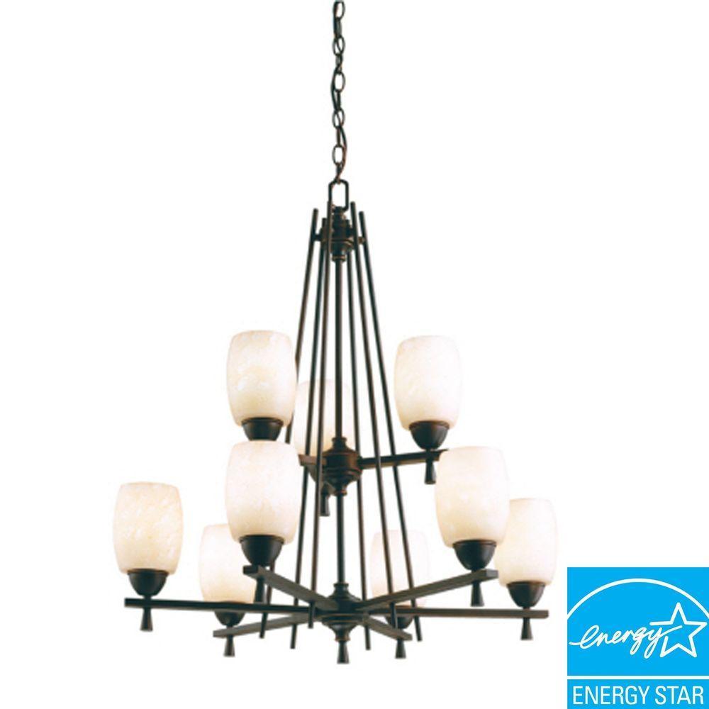 Lithonia Lighting Ferros 9-Light Antique Bronze Hanging Chandelier