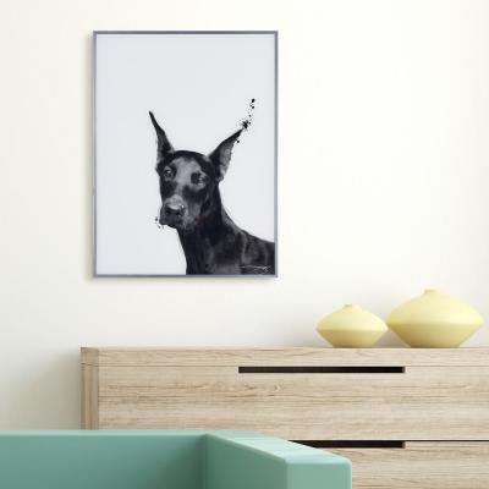 """Doberman"" Black and White Dog Paintings on Reverse Printed Glass Framed Wall Art"
