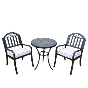 Rochester 3-Piece Outdoor Bistro Set with Oatmeal Cushions by
