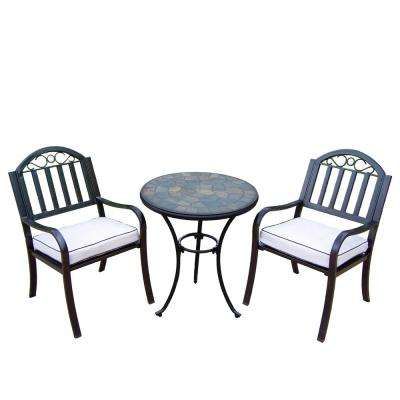 Rochester 3-Piece Outdoor Bistro Set with Oatmeal Cushions