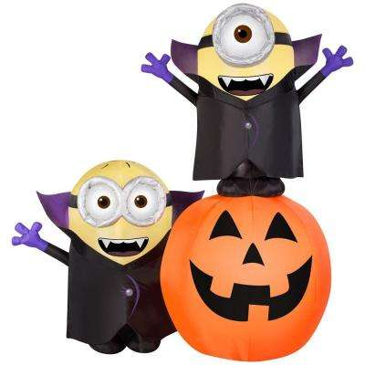 6.5 ft. Inflatable Lighted Gone Batty Minion Pumpkin Scene