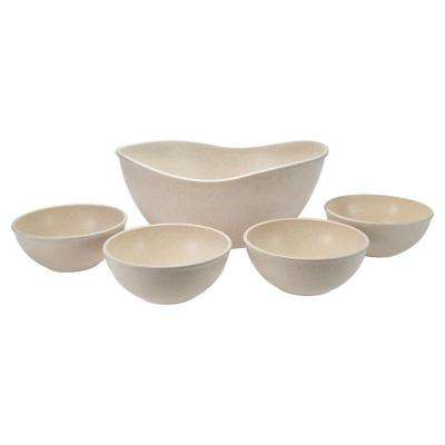 EVO Sustainable Goods White Eco-Friendly Wood-Plastic Composite Serving Bowl Set (Set of 5)