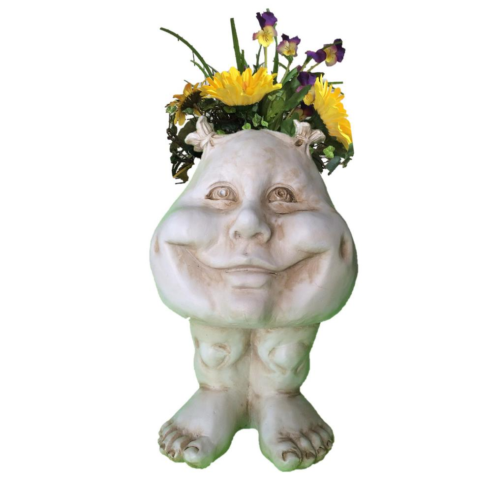 12 in. Antique White Suzy-Q Muggly Planter Statue Holds 4 in.