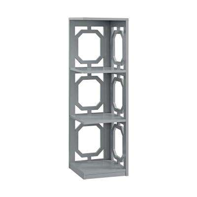 Omega Gray 3-Tier Corner Bookcase