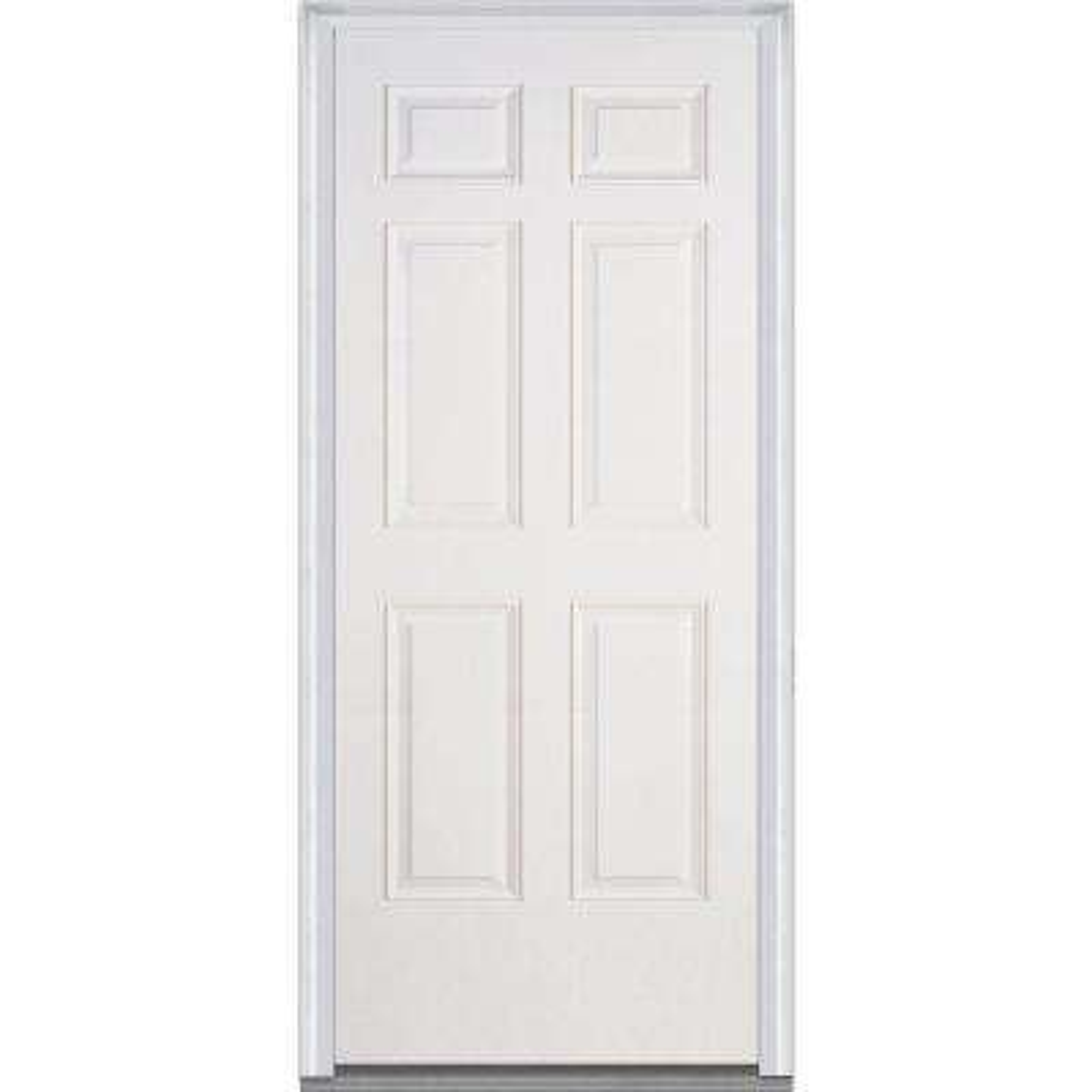 36 in. x 80 in. Severe Weather Left-Hand Outswing 6-Panel Primed Fiberglass Smooth Prehung Front Door