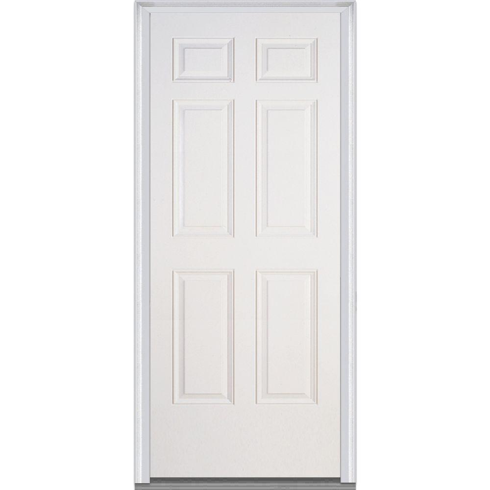 Mmi door 36 in x 80 in severe weather right hand outswing 6 panel primed fiberglass smooth 36 x 80 outswing exterior door