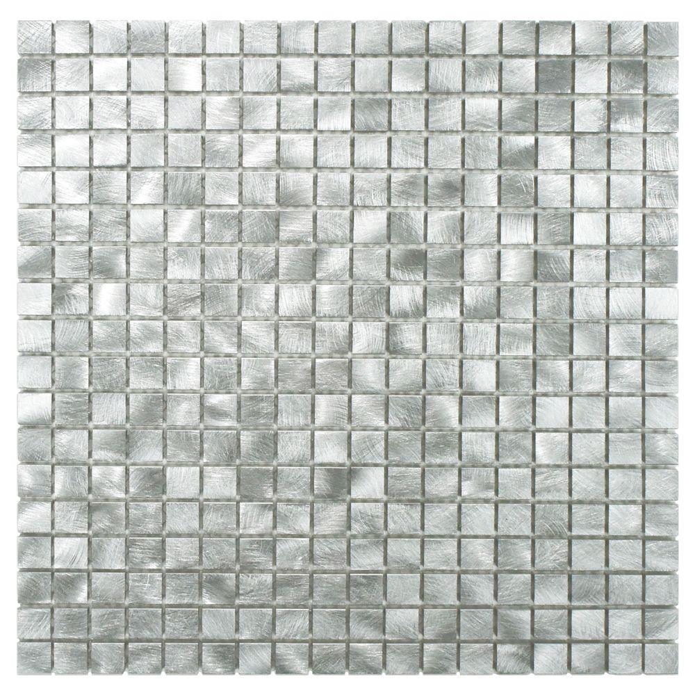 Alumina Mini Palladium 12 in. x 12 in. x 8 mm Brushed Aluminum Mosaic Tile
