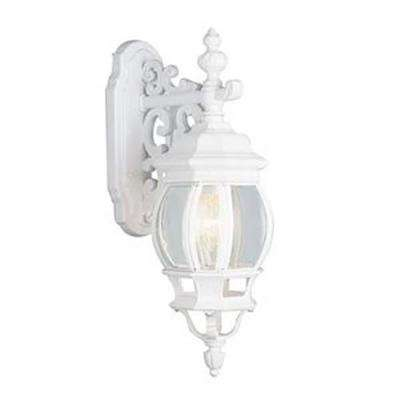 Filigree 3-Light White Coach Outdoor Wall Mount Lantern with Clear Glass