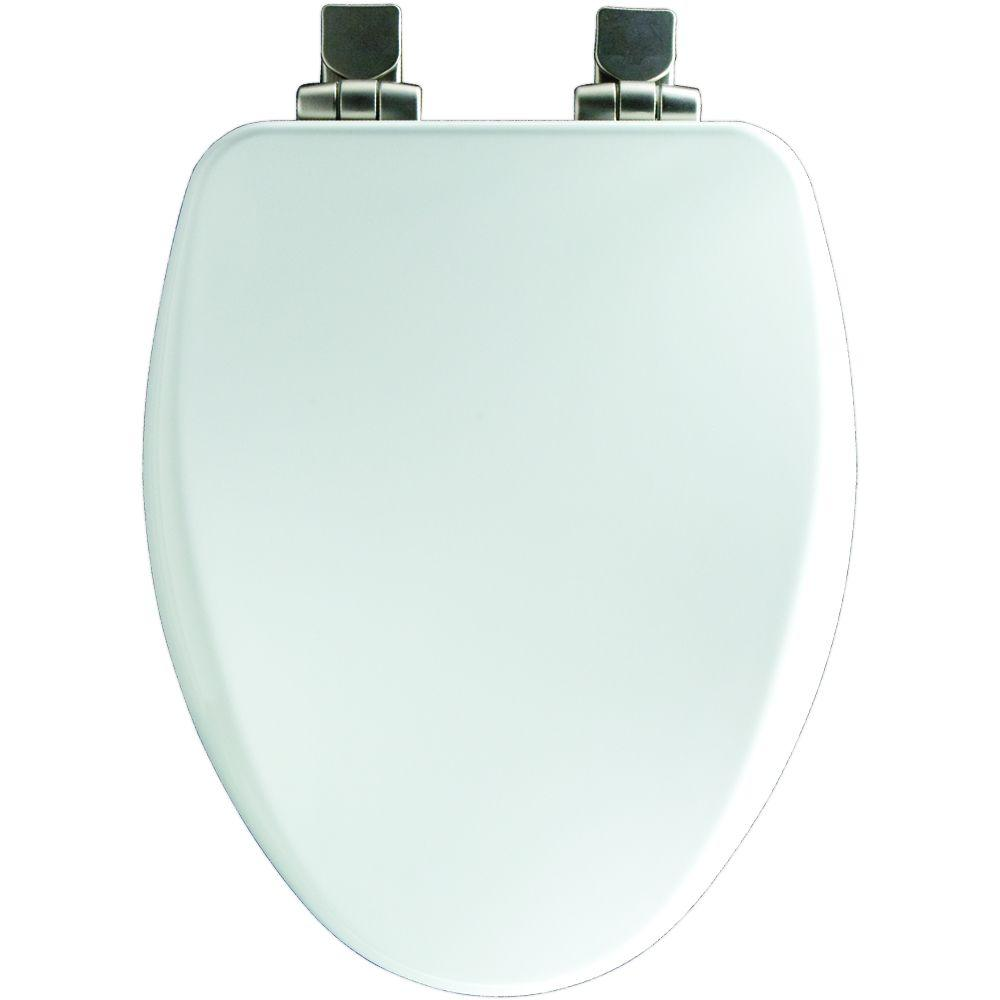 Brushed-Nickel Slow Close Elongated Closed Front Toilet Seat in White