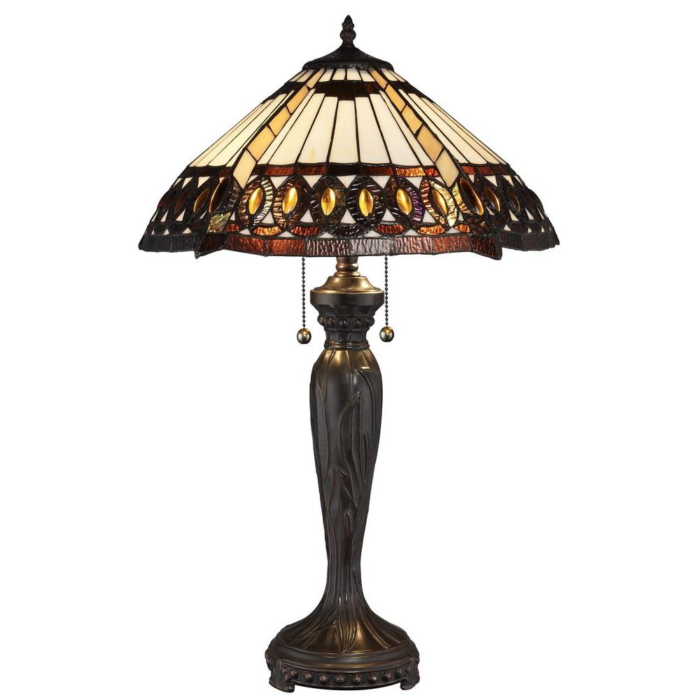 Tiffany Amberjack 26 in. Bronze Table Lamp