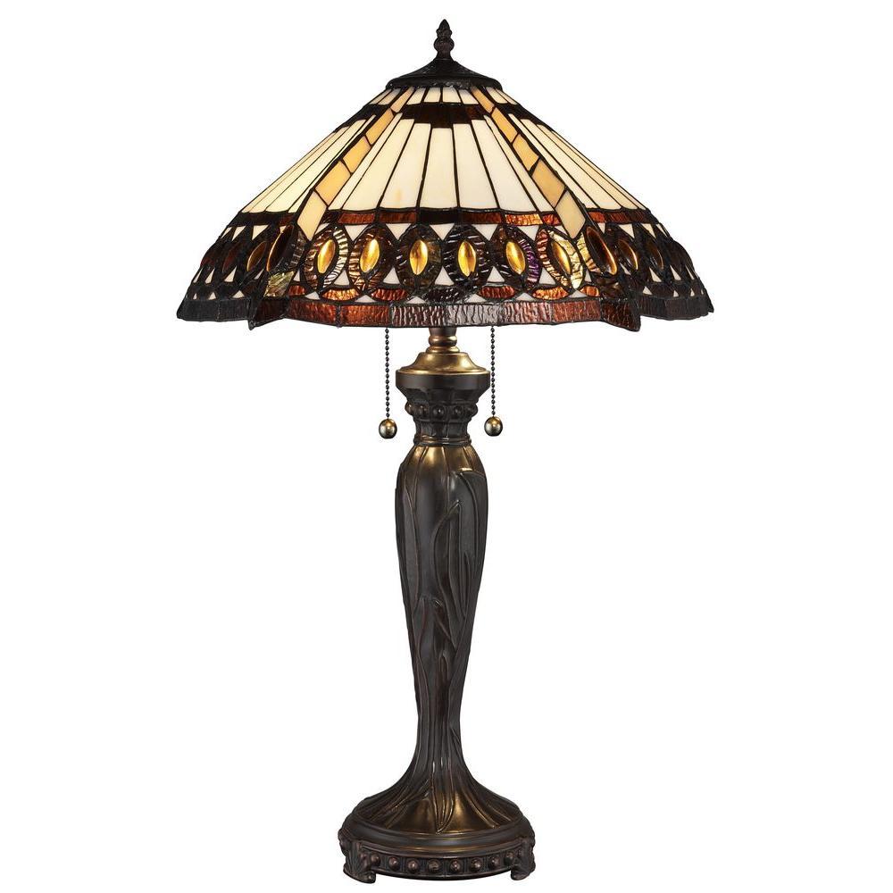 Tiffany Amberjack 26 in. Bronze Table Lamp