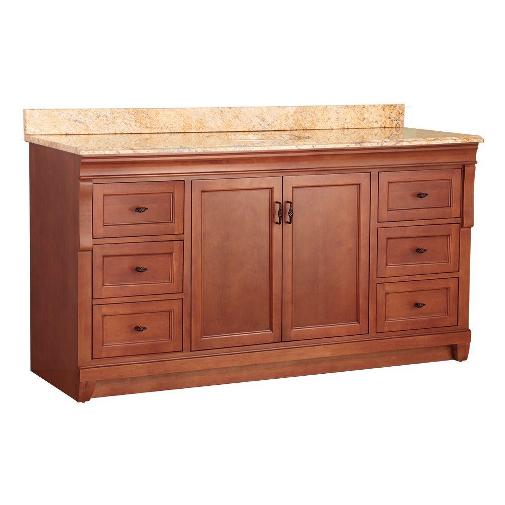 Home Decorators Collection Naples 61 in. W x 22 in. D Bath Vanity in Warm Cinnamon with Stone Effects Vanity Top in Tuscan Sun