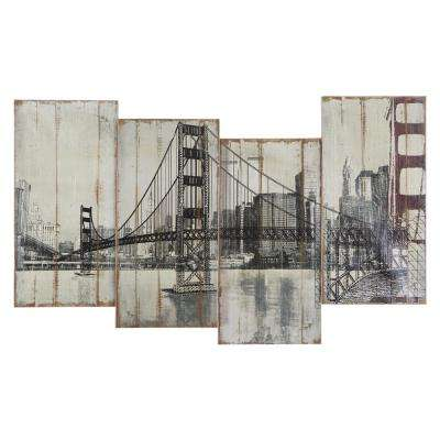 "39 in. x 24 in. ""Golden Gate Bridge"" Hand Painted Contemporary Artwork"