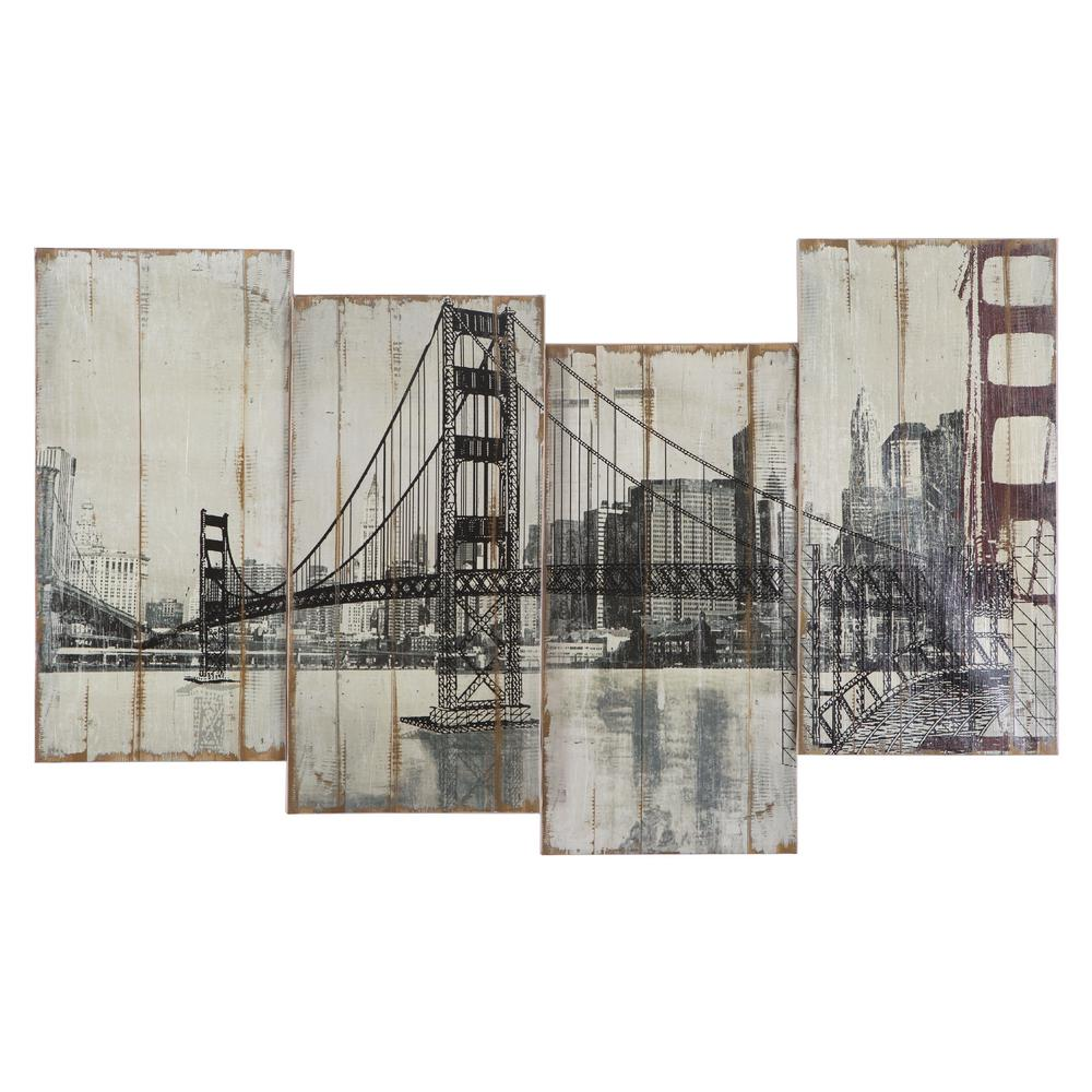 "Yosemite Home Decor 39 in. x 24 in. ""Golden Gate Bridge"" Hand Painted Contemporary Artwork"