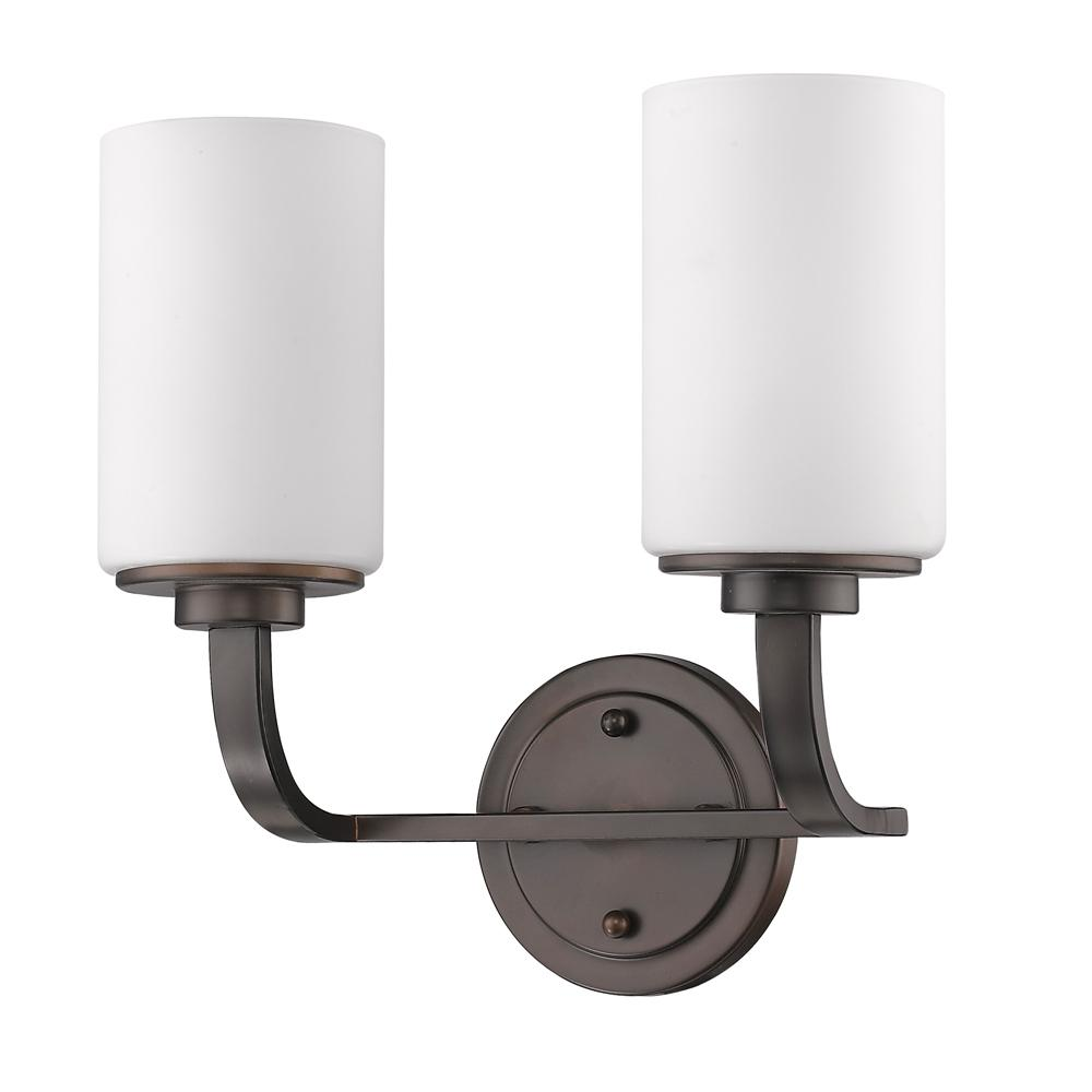 Acclaim Lighting Addison 2-Light Oil-Rubbed Bronze Vanity Light with Etched Glass Shades