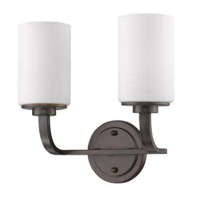 Addison 2-Light Oil-Rubbed Bronze Vanity Light with Etched Glass Shades