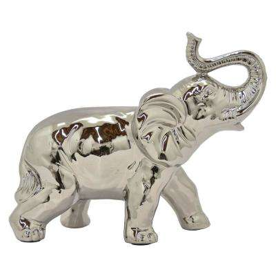12.75 in. Silver Cer Elephant Tabletop