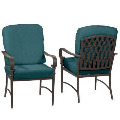 Oak Cliff Brown Steel Outdoor Patio Dining Chair with CushionGuard Charleston Blue-Green Cushions (2-Pack)