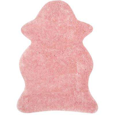 Arctic Shag Pink 4 ft. x 6 ft. Square Scalloped Area Rug