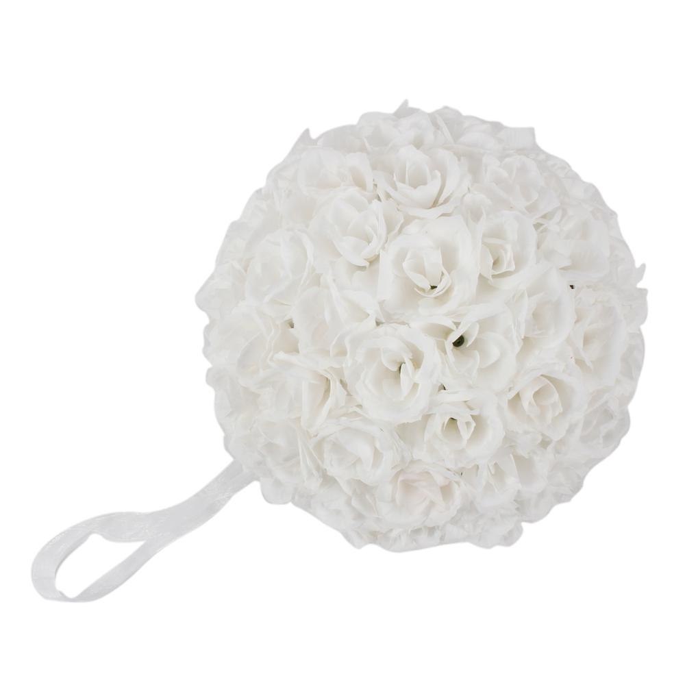 9.8 in. White Flower Ball Wedding Decoration-13012586 - The Home Depot