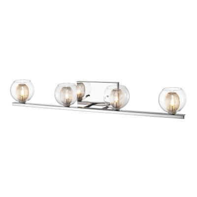 Rivulet 4-Light Chrome Bath Light with Clear and Mesh Glass + Steel Shade