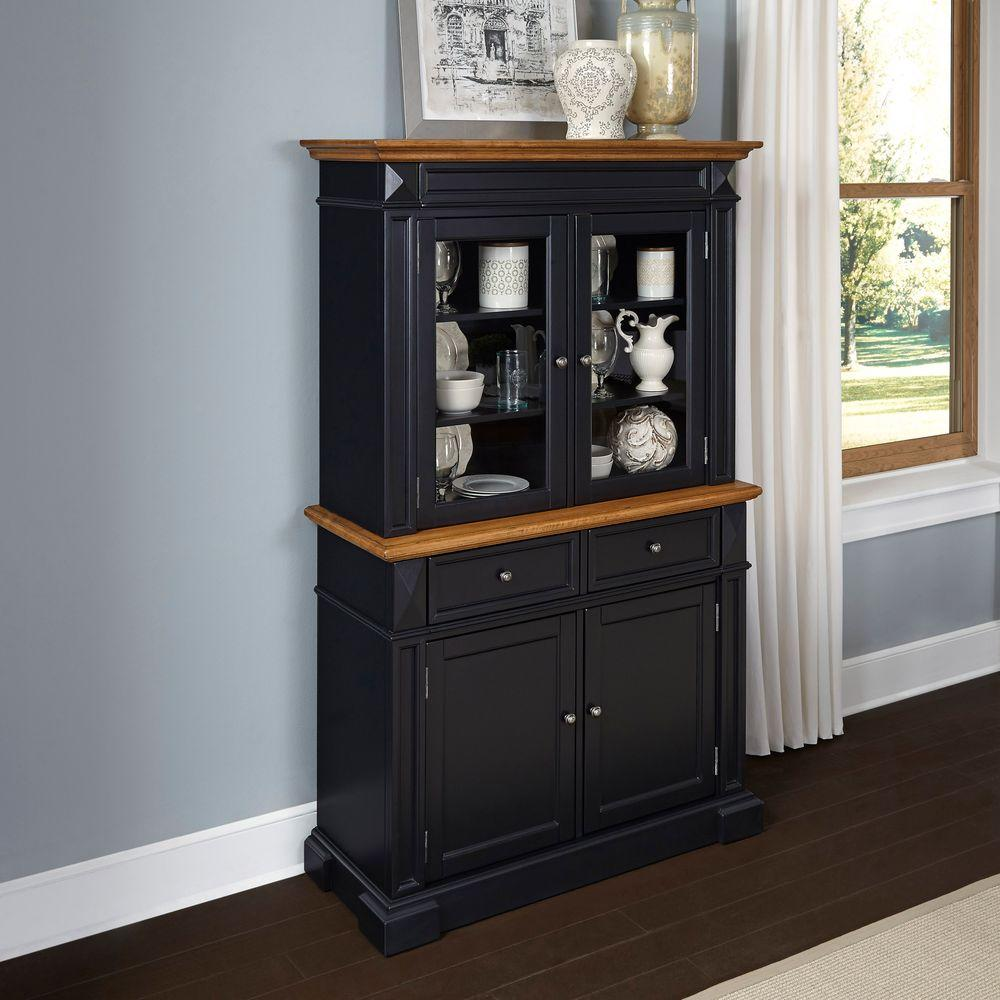 Home Style Black Oak Buffet Hutch Black Brown