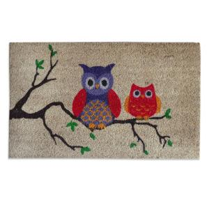 A1HC First Impression Owl 18 inch x 30 inch Coir Door Mat by