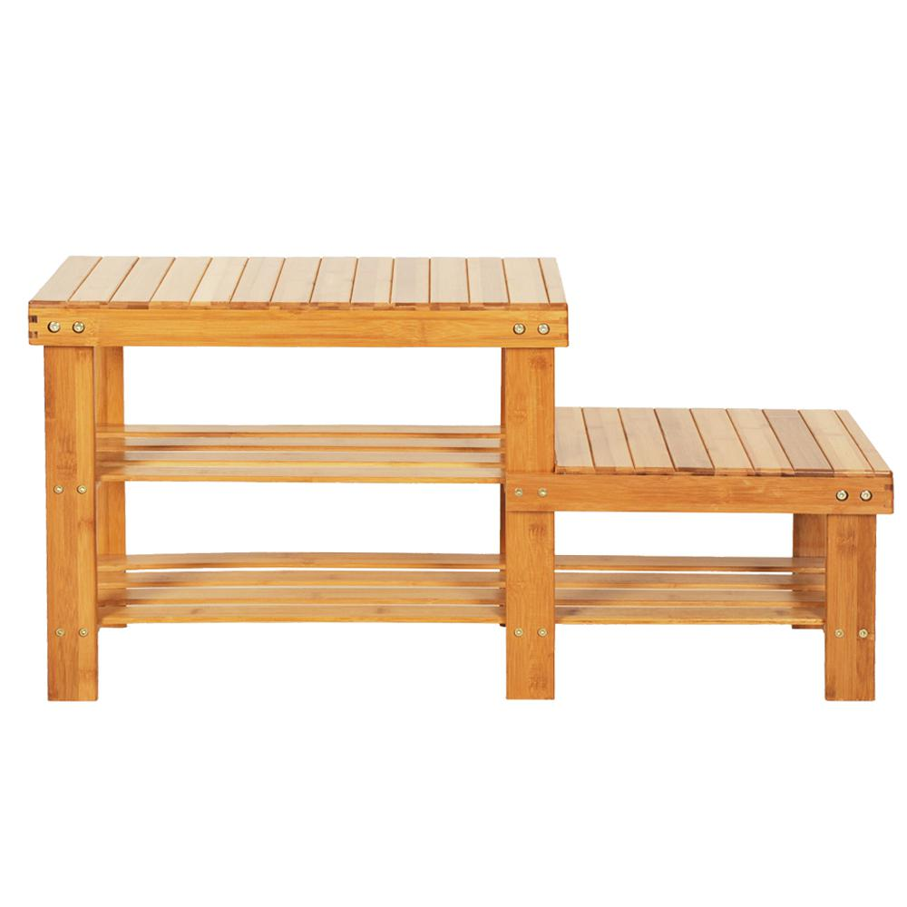 10-pair 90cm Strip Pattern Tiers Bamboo Stool Shoe Rack for Kids Wood Color Shoe Organizer