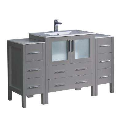 Torino 54 in. Bath Vanity in Gray with Ceramic Vanity Top in White with White Basin with Side Cabinets