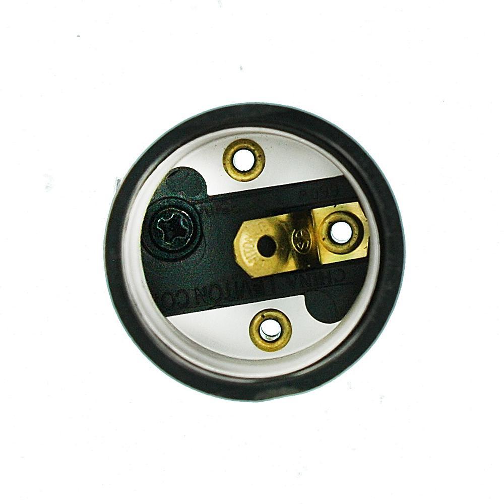 Leviton 3352-F 1-Circuit 1-Piece Keyless Lamp Holder Incandescent Medium Black 660 W