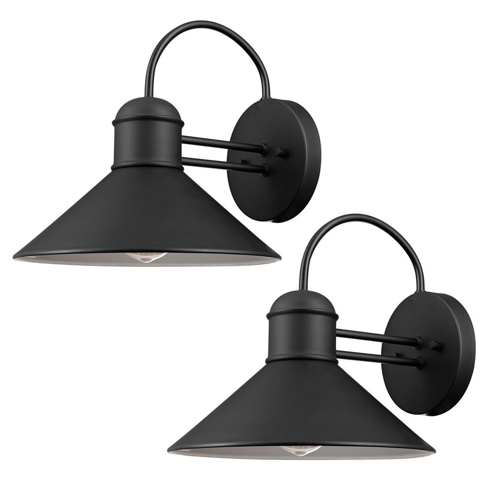 Globe Electric Sebastien 1 Light Black Outdoor Wall Sconce 2 Pack